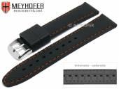 Uhrenarmband Gatlinburg Special 18mm schwarz Silikon gemustert matt orange Naht von MEYHOFER (Schließenanstoß 16 mm)