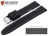 Uhrenarmband Gatlinburg 18mm schwarz Silikon gemustert matt helle Naht von MEYHOFER (Schließenanstoß 16 mm)