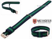 Uhrenarmband Streamwood 18mm dunkelblau Textil grüner Streifen Durchzugsband roségoldfarbene Schließe von MEYHOFER
