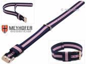 Uhrenarmband Streamwood 18mm dunkelblau Textil pinker Streifen Durchzugsband roségoldfarbene Schließe von MEYHOFER