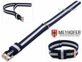 Uhrenarmband Streamwood 18mm dunkelblau Textil weißer Streifen Durchzugsband roségoldfarbene Schließe von MEYHOFER