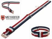 Uhrenarmband Streamwood 18mm dunkelblau/weiß/rot Textil Durchzugsband roségoldfarbene Schließe von MEYHOFER