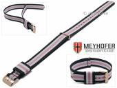 Uhrenarmband Oswego 18mm dunkelblau/weiß/pink Textil/Synthetik Durchzugsband roségoldfarbene Schließe von MEYHOFER