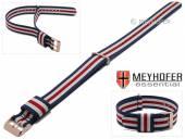 Uhrenarmband Oswego 18mm dunkelblau/weiß/rot Textil/Synthetik Durchzugsband roségoldfarbene Schließe von MEYHOFER