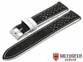 Uhrenarmband Arvada 18mm schwarz Leder Racing-Look weiße Naht von MEYHOFER (Schließenanstoß 16 mm)