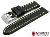 Uhrenarmband Lethbridge 20mm schwarz Leder Carbon-Look gelbe Naht von MEYHOFER (Schließenanstoß 20 mm)