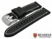 Uhrenarmband Lethbridge 24mm schwarz Leder Carbon-Look helle Naht von MEYHOFER (Schließenanstoß 24 mm)