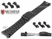 Uhrenarmband Livonia 22-24-26mm schwarz Edelstahl gefaltet teilweise poliert Wechselanstoß von MEYHOFER