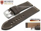 Uhrenarmband Amberg 24mm dunkelbraun Leder Vintage-Look helle Naht von MEYHOFER (Schließenanstoß 24 mm)