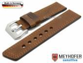 Uhrenarmband Erding 24mm mittelbraun Leder Antik-Look Doppelnaht von MEYHOFER (Schließenanstoß 24 mm)
