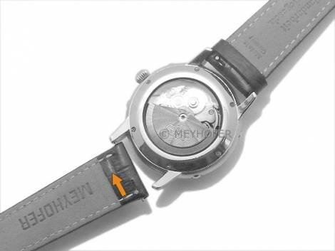 Uhrenarmband Meyhofer EASY-CLICK -Inzell- 20mm dunkelblau Leder Alligator-Prägung abgenäht (Schließenanstoß 18 mm) - Bild vergrößern