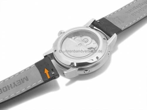 Uhrenarmband Meyhofer EASY-CLICK -Brunn- 18mm dunkelbraun Leder grob genarbt abgenäht (Schließenanstoß 16 mm) - Bild vergrößern