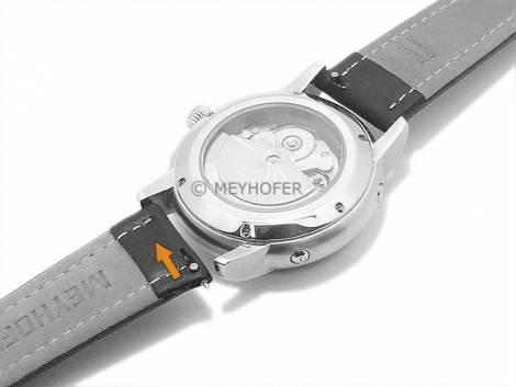Uhrenarmband Meyhofer EASY-CLICK XL -Mittenwald- 20mm schwarz Leder glatt helle Naht (Schließenanstoß 18 mm) - Bild vergrößern