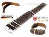 Uhrenarmband Piacenza NATO 24mm dunkelbraun Leder genarbt weiße Naht Durchzugsband von Meyhofer