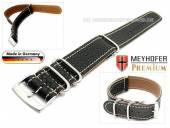 Uhrenarmband Piacenza NATO 22mm schwarz Leder genarbt weiße Naht Durchzugsband von Meyhofer