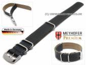 Uhrenarmband Piacenza NATO Special 22mm schwarz Leder genarbt blaue Naht Durchzugsband von Meyhofer
