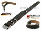Durchzugsband Piacenza NATO Special 24mm schwarz Leder genarbt orangefarbene Naht von Meyhofer