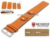 Uhrenarmband Kassel Classic 14-16-18-20mm Wechselanstoß orange Leder genarbt helle Naht Unterlagenband von Meyhofer
