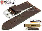 Uhrenarmband Kendall Special 26mm dunkelbraun Leder Alligator-Prägung orange Naht von MEYHOFER (Schließenanstoß 26 mm)