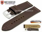 Uhrenarmband Kendall 26mm dunkelbraun Leder Alligator-Prägung helle Naht von MEYHOFER (Schließenanstoß 26 mm)
