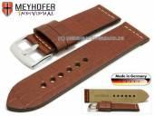 Uhrenarmband Kendall 26mm rotbraun Leder Alligator-Prägung helle Naht von MEYHOFER (Schließenanstoß 26 mm)