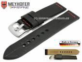 Uhrenarmband Kendall Special 24mm schwarz Leder Alligator-Prägung rote Naht von MEYHOFER (Schließenanstoß 24 mm)
