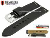 Uhrenarmband Kendall 24mm schwarz Leder Alligator-Prägung helle Naht von MEYHOFER (Schließenanstoß 24 mm)