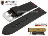 Uhrenarmband Kendall Special 26mm schwarz Leder Alligator-Prägung rote Naht von MEYHOFER (Schließenanstoß 26 mm)