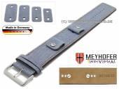Uhrenarmband Eisenach 14-16-18-20mm Wechselanstoß blau Synthetik/Leder Jeans-Look braune Naht Unterlagenband Meyhofer