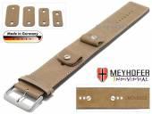 Uhrenarmband Magdeburg 14-16-18-20mm Wechselanstoß beige Leder Antik-Look helle Naht Unterlagenband Meyhofer
