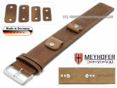 Uhrenarmband Magdeburg 14-16-18-20mm Wechselanstoß mittelbraun Leder Antik-Look abgenäht Unterlagenband Meyhofer
