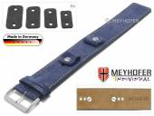 Uhrenarmband Edlingen 14-16-18-20mm Wechselanstoß dunkelblau Leder velourartig helle Naht Unterlagenband von MEYHOFER