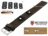 Uhrenarmband Edlingen 14-16-18-20mm Wechselanstoß dunkelbraun Leder velourartig helle Naht Unterlagenband von MEYHOFER