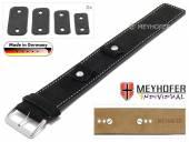 Uhrenarmband Edlingen 14-16-18-20mm Wechselanstoß schwarz Leder velourartig helle Naht Unterlagenband von MEYHOFER