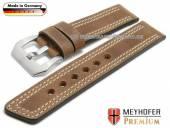Uhrenarmband Bilbao 26mm mittelbraun Leder Antik-Look helle Doppelnaht von MEYHOFER (Schließenanstoß 26 mm)