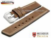 Uhrenarmband Malaga 26mm mittelbraun Leder Antik-Look helle einseitige Doppelnaht von MEYHOFER (Schließenanstoß 26 mm)