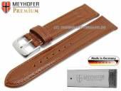 Uhrenarmband Kronberg 16mm goldbraun Leder Teju-Prägung abgenäht von Meyhofer (Schließenanstoß 16 mm)