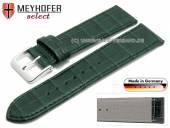 Uhrenarmband XS Jacksonville 16mm dunkelgrün Leder Alligator-Prägung abgenäht von Meyhofer (Schließenanstoß 14 mm)