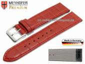Uhrenarmband XS Jacksonville 20mm rot Leder Alligator-Prägung abgenäht von Meyhofer (Schließenanstoß 18 mm)