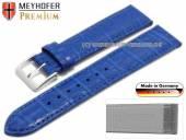 Uhrenarmband Wellington 18mm azurblau Leder Alligator-Prägung abgenäht von Meyhofer (Schließenanstoß 16 mm)