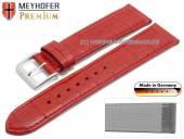 Uhrenarmband Wellington 22mm rot Leder Alligator-Prägung abgenäht von Meyhofer (Schließenanstoß 18 mm)