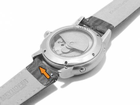 Meyhofer EASY-CLICK Uhrenarmband -Werra- 14mm hellbraun Leder Kroko-Prägung abgenäht (Schließenanstoß 12 mm) - Bild vergrößern