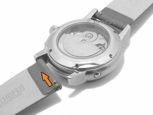 Meyhofer EASY-CLICK Uhrenarmband -Donau- 12mm orange Leder glatt ohne Naht (Schließenanstoß 12 mm) - Bild vergrößern