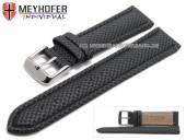Uhrenarmband Saarburg 24mm schwarz Synthetik Textillook abgenäht von MEYHOFER (Schließenanstoß 22 mm)