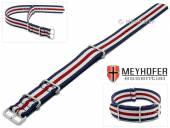 Uhrenarmband Waterville 24mm dunkelblau Textil weiße roter Streifen Durchzugsband im NATO-Style von MEYHOFER