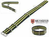 Uhrenarmband Waterville 24mm dunkelblau Textil gelbe Streifen Durchzugsband im NATO-Style von MEYHOFER