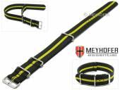 Uhrenarmband Bidford 24mm schwarz Textil gelber Streifen Durchzugsband im NATO-Style von MEYHOFER