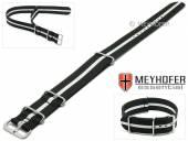 Uhrenarmband Bidford 24mm schwarz Textil weißer Streifen Durchzugsband im NATO-Style von MEYHOFER