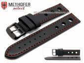 Uhrenarmband Padborg 22mm schwarz Racing-Look rote Naht Schließe schwarz von MEYHOFER (Schließenanstoß 20 mm)