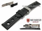 Uhrenarmband Stavelot 22mm schwarz Racing-Look mit Butterflyfaltschließe von MEYHOFER (Schließenanstoß 20 mm)